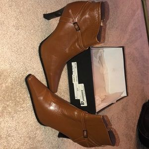 Brown camel ankle boots